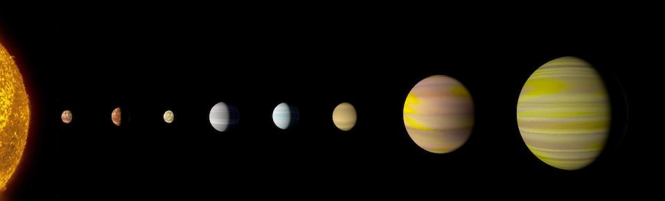 Représentation artistique du système Kepler-90.