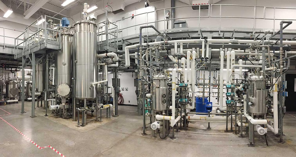 Des lignes de fermentation dans le Le laboratoire de biotechnologies environnementales de l'Institut national de recherche scientifique (INRS)