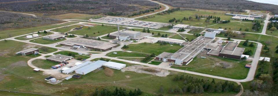 Vue aérienne du laboratoire de recherche nucléaire de Pinawa.