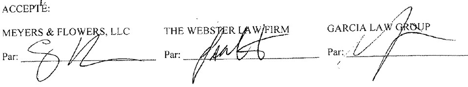 Signatures du document liant la firme aux victimes de Lac-Mégantic.