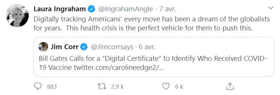 Capture d'écran d'un tweet de l'animatrice de Fox News Laura Ingraham.