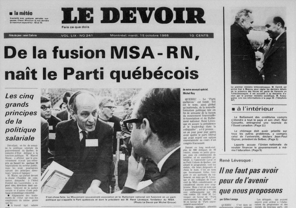 La une du Devoir le 15 octobre 1968