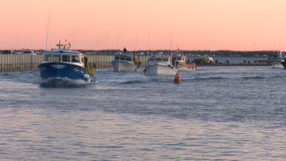 Quatre bateaux chargés de casiers de pêche se dirigent vers la sortie du havre.