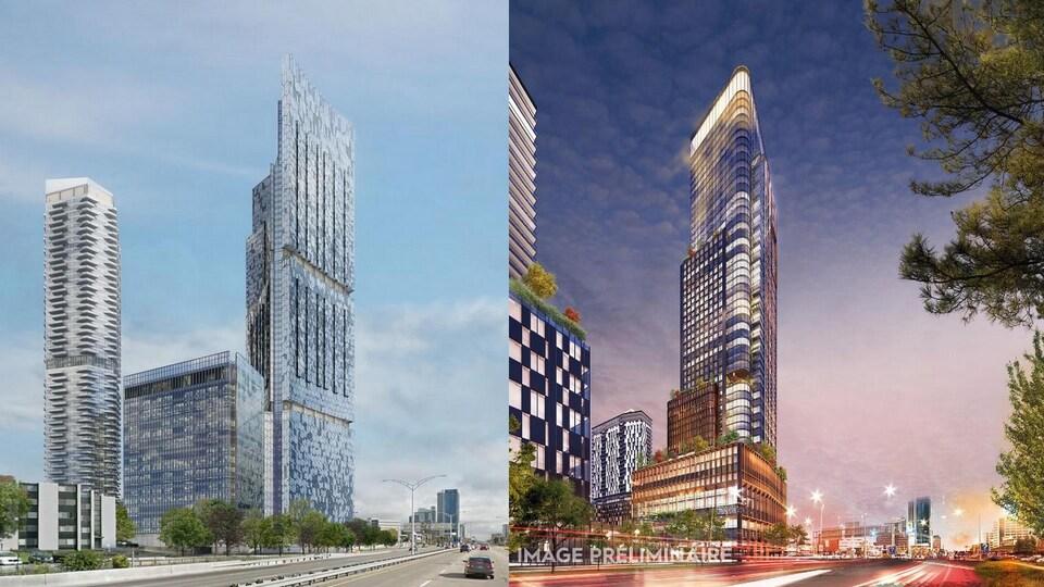 À gauche, la dernière mouture du projet Le Phare. À droite, le nouveau projet HUMANITI.