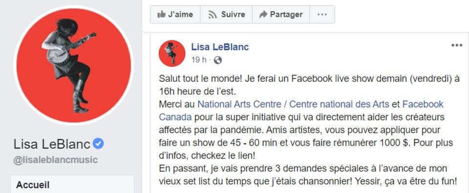 Publication Facebook de Lisa LeBlanc annonçant qu'elle jouera sur Facebook ce vendredi.