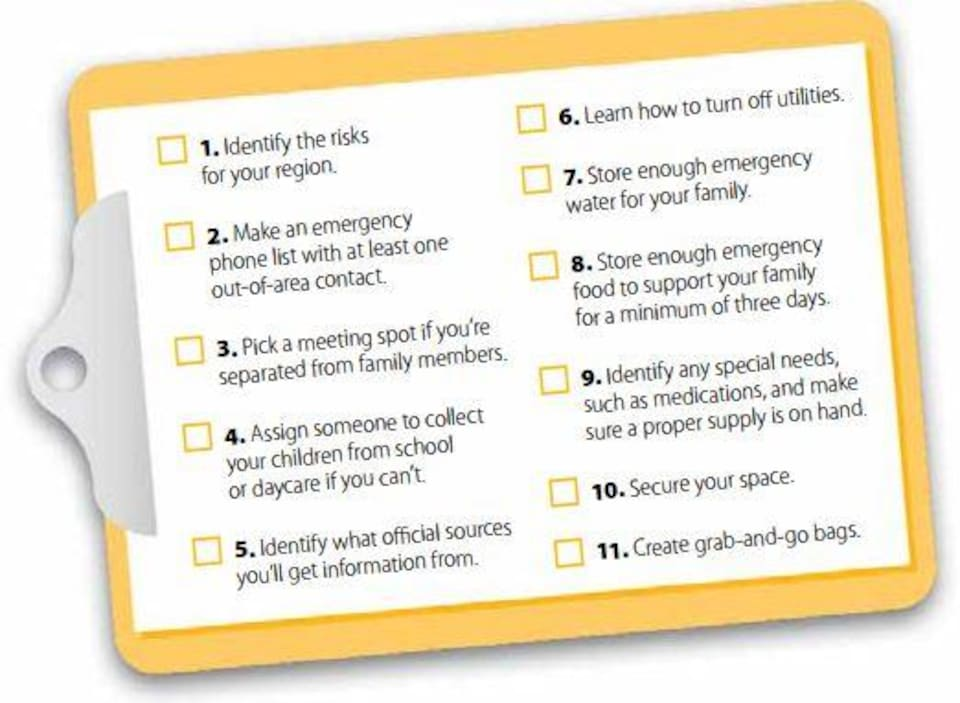 Une liste en anglais des différentes mesures à adopter pour se préparer à une évacuation en cas de feu de forêt
