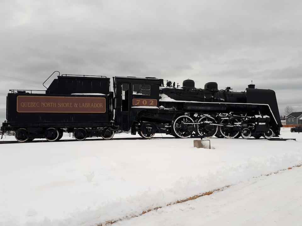 Une des premières locomotives à faire le trajet Sept-Îles-Schefferville