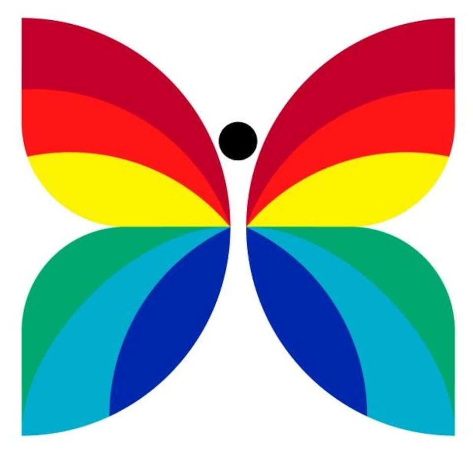 Logo de papillon multicolore.