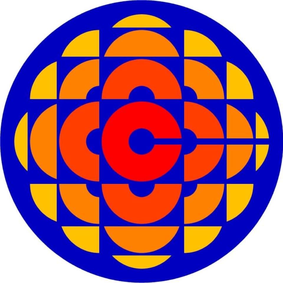 Logo composé d'un symbole : la lettre C de Canada diffusée dans toutes les directions représente le rayonnement de la radio et de la télévision. Appelé la pizza multicolore.