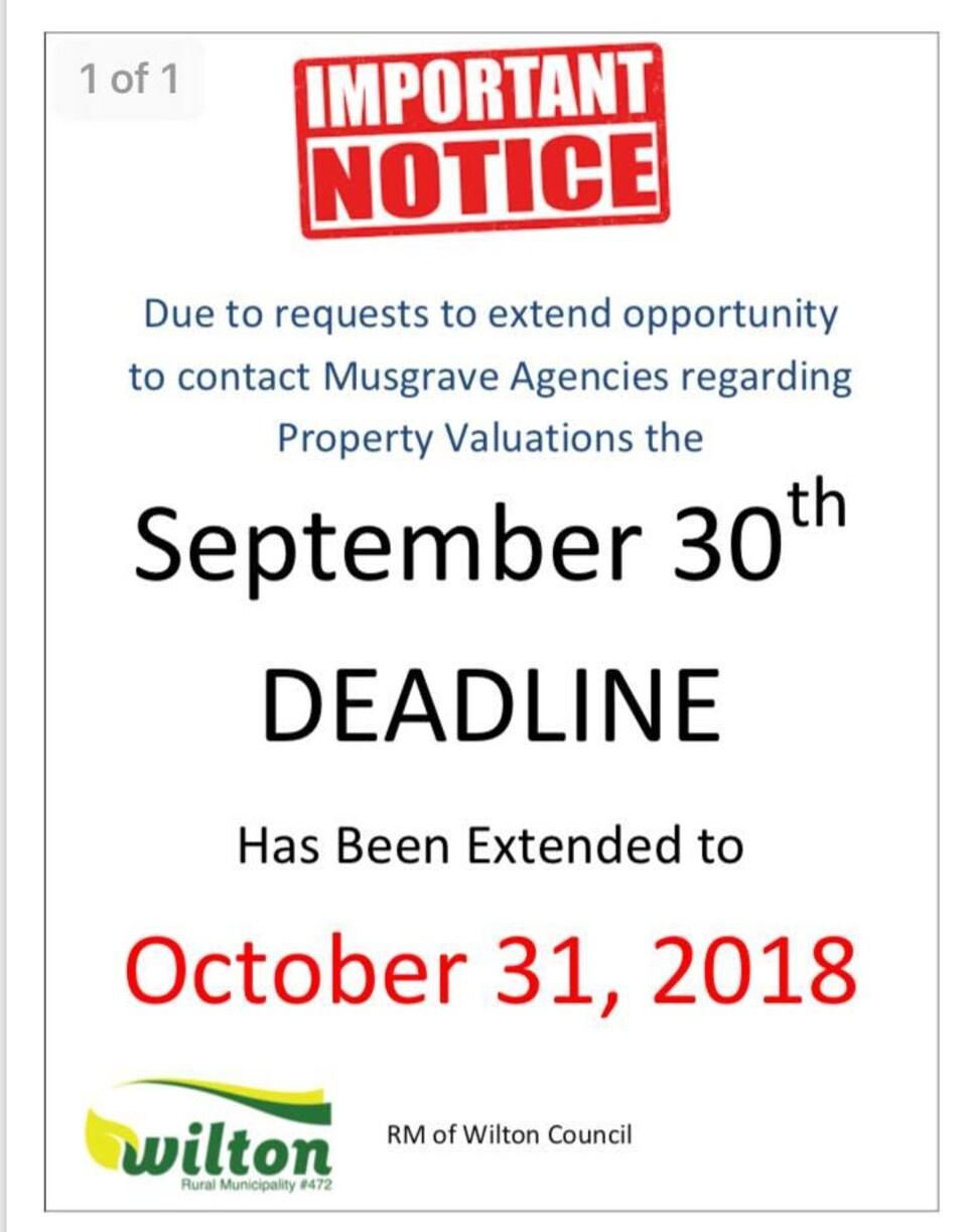 L'avis décrit le nouveau délai qui est passé du 30 septembre au 31 octobre pour les résidents de Lone Rock qui souhaitent faire l'évaluation de leur propriété avec Musgrave Agencies.