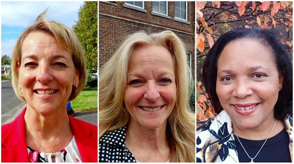Photomontage des trois candidates à la mairie de Longueuil.