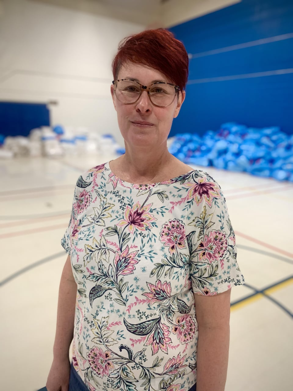 Louise Beaudoin photographiée dans le centre d'isolement pour les personnes vulnérables à Ottawa.