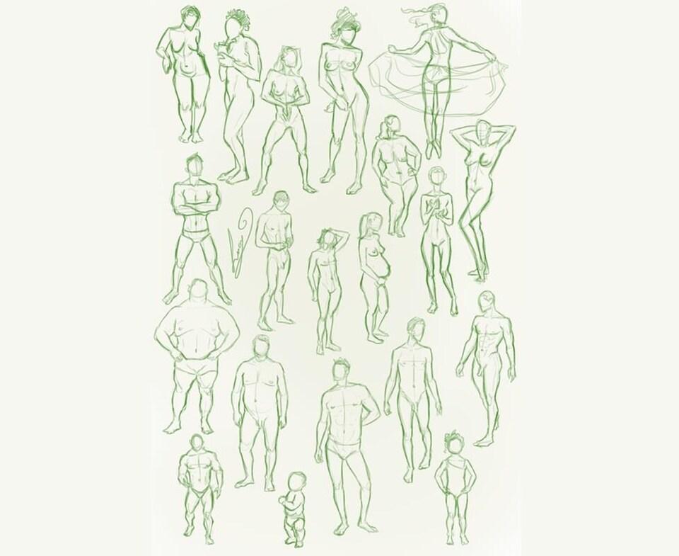 Des croquis de divers corps