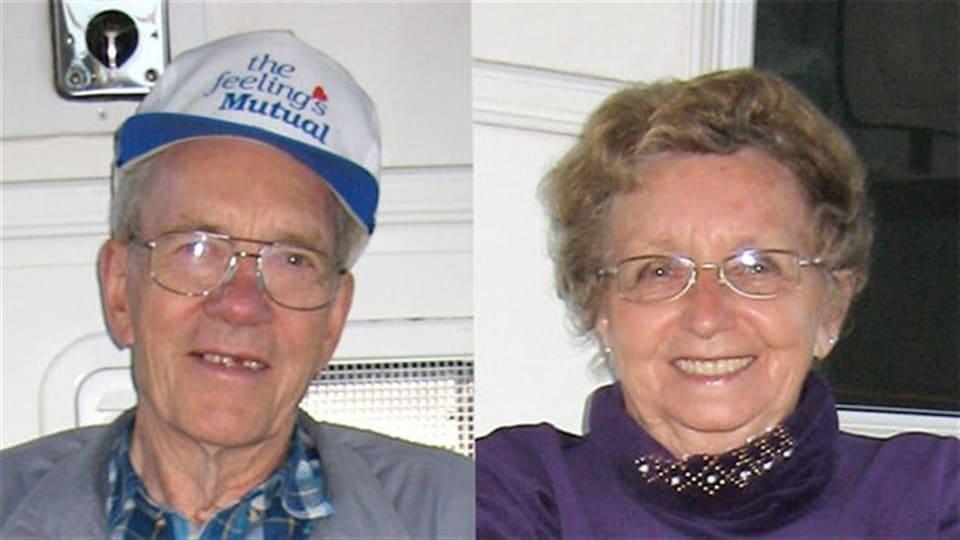 Portraits juxtaposés d'un homme et d'une femme âgés.