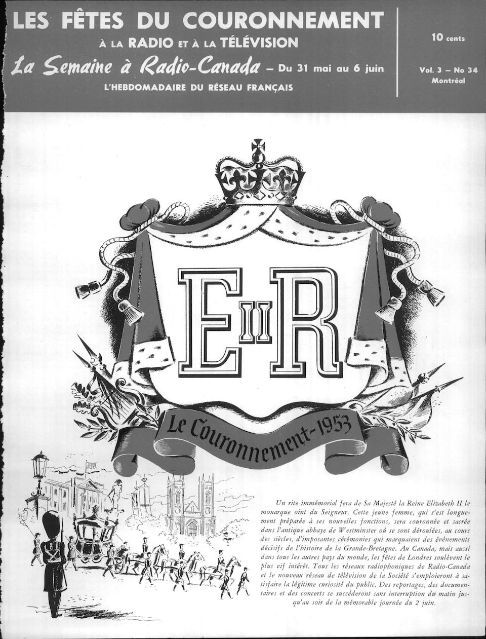 Page couverture du magazine La Semaine à Radio-Canada du 31 mai 1953 illustrant la programmation spéciale pour le couronnement de la reine.