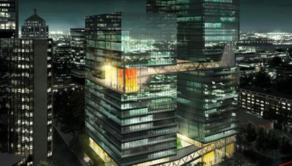 À l'intersection du boulevard Robert-Bourassa et de la rue Saint-Jacques, la compagnie Magil Laurentienne souhaite construire deux tours qui ajouteraient 800 000 pieds carrés d'espace pour des bureaux à Montréal.