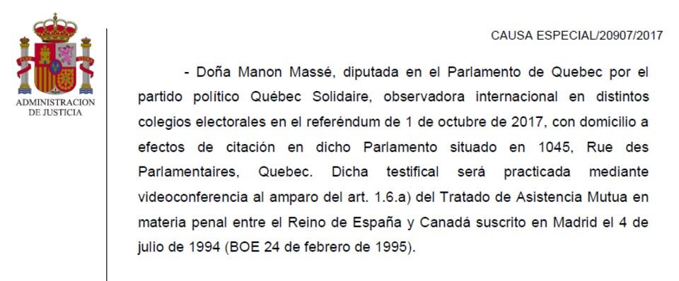 Un texte en espagnol montrant que Manon Massé va témoigner par vidéoconférence.