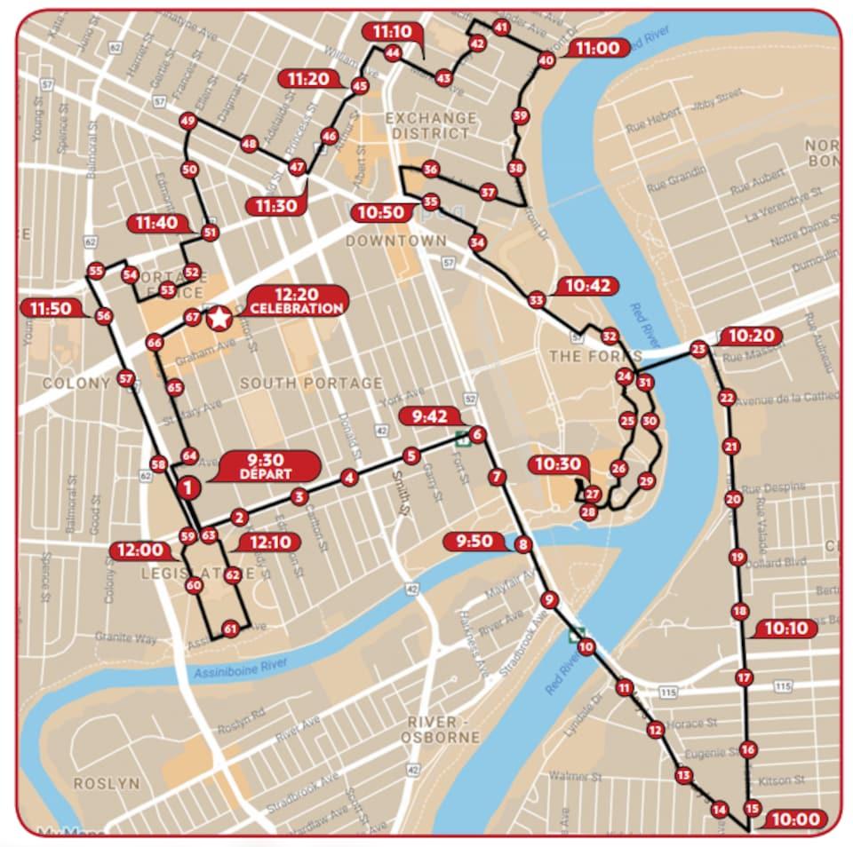 Carte de la ville de Winnipeg avec les lignes rouges qui délimitent le trajet de la flamme des Jeux du Canada 2017