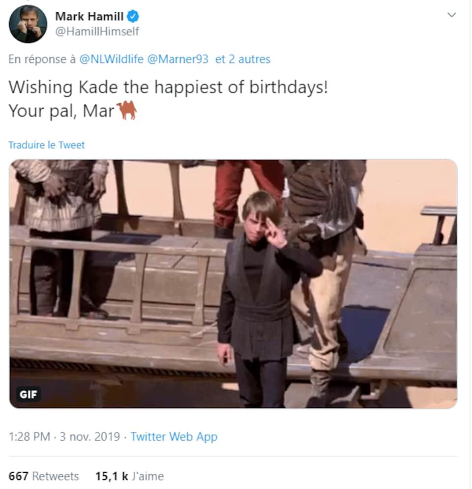 Un tweet de l'acteur Mark Hamill avec une image de Luke Skywalker.