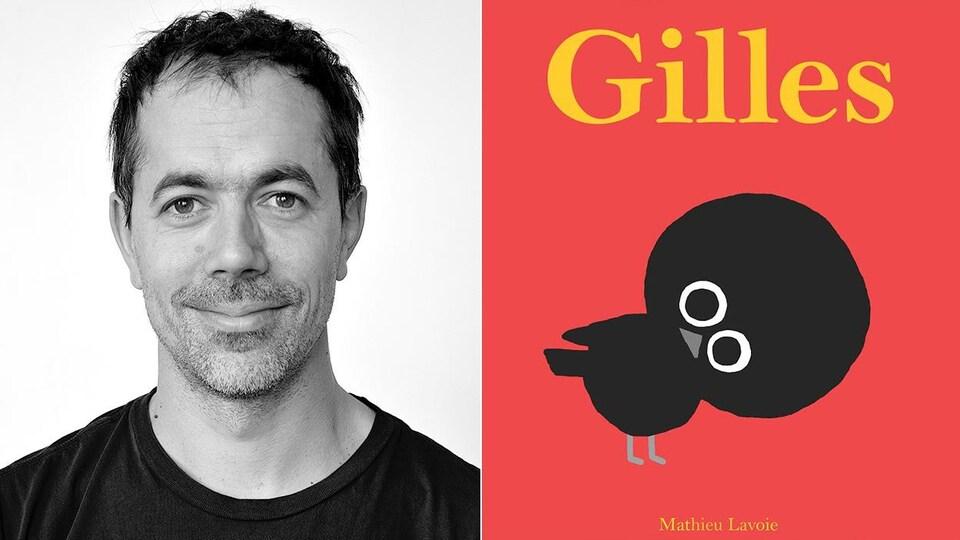 Montage d'un portrait de l'auteur et illustrateur Mathieu Lavoie et de la couverture de son album «Gilles» qui présente un oisillon noir sur fond rouge.