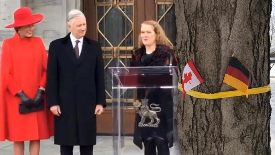 Julie Payette parle aux journalistes en compagnie du couple royal belge.