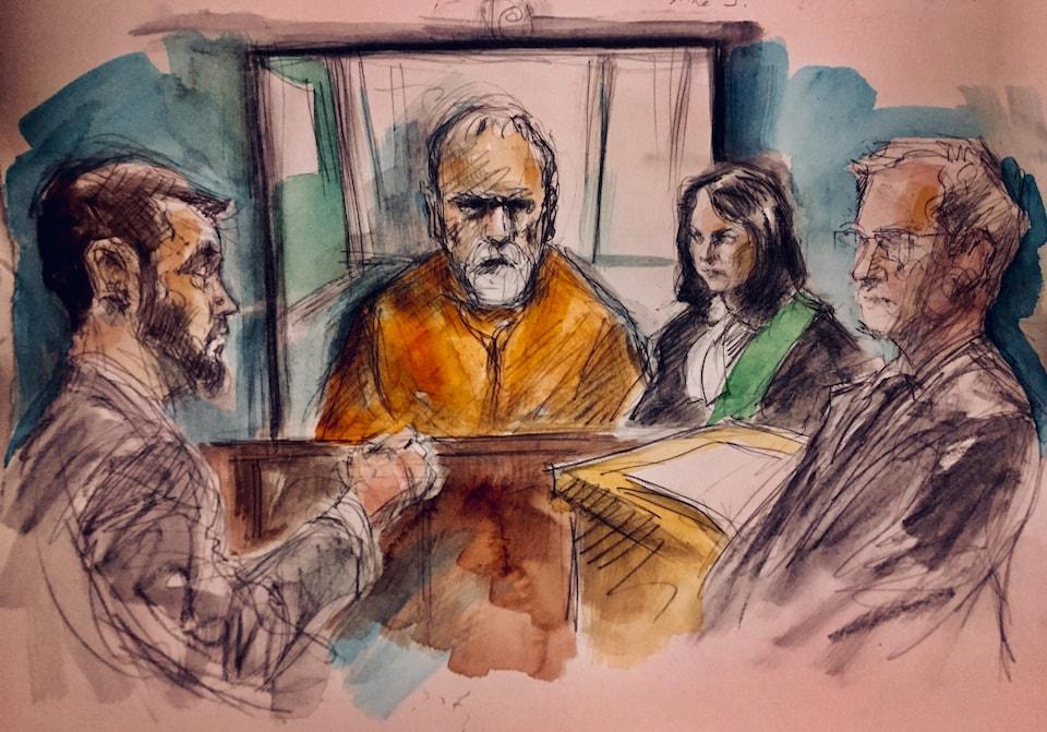 Dessin de cour de Bruce McArthur portant une tenue de prisonnier orange.