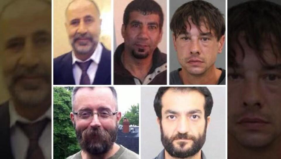 Portrait de cinq hommes dont la disparition a été signalée il y a plusieurs semaines.
