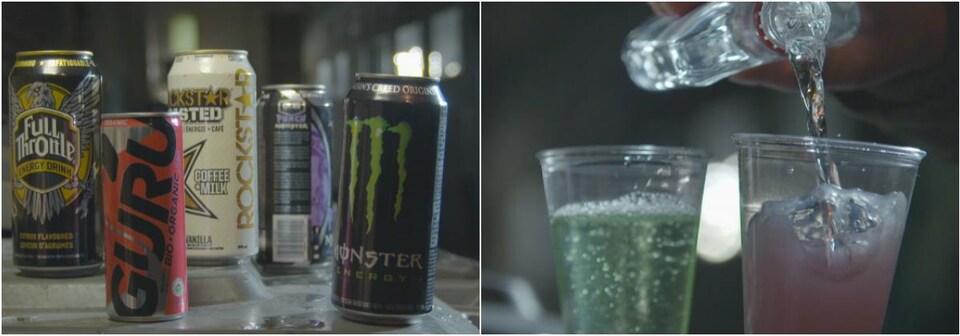 On voit à gauche des canettes de boissons énergisantes et à droite un mélange maison avec de l'alcool versé dans des verres en plastique.