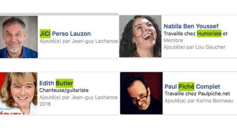 Quelques membres du groupe secret de La Meute ajoutés à leur insu.
