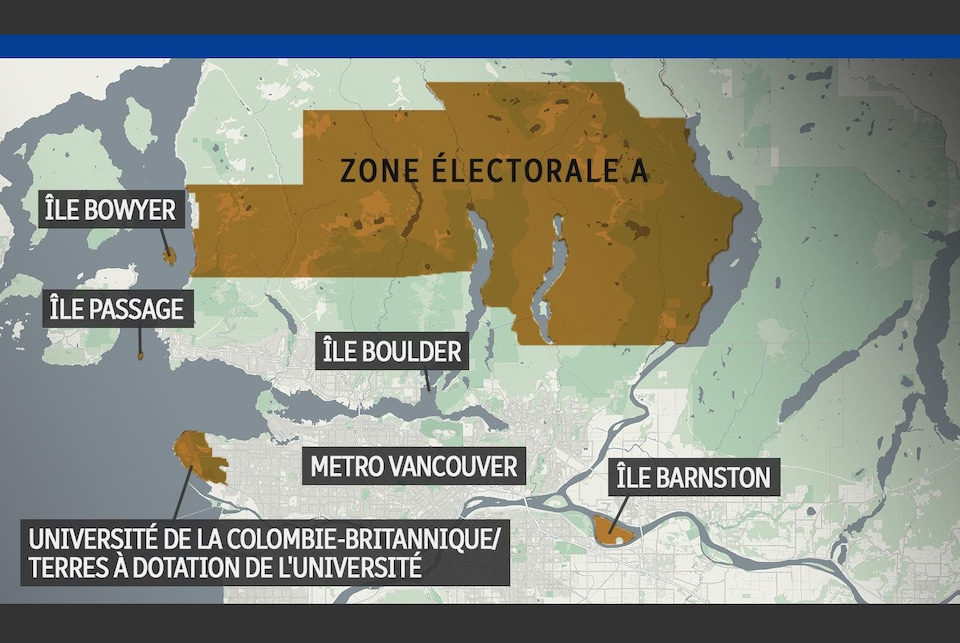 Une carte de la zone électorale A, qui comprend les terres à dotation de l'Université, un large secteur dans les montagnes de la rive nord de Vancouver, l'île Barnson, l'île Boulder, l'île Passage et l'île Bowyer.