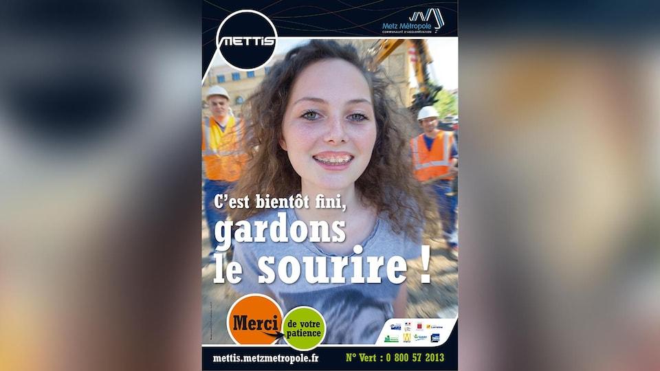 Visuel de la campagne de publicité lors de la construction du Mettis