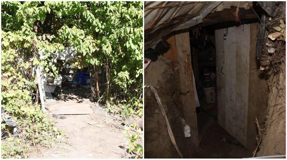 Un collage de photos : à gauche une entrée cachée par les buissons et à droite une porte souterraine creusée dans l'argile