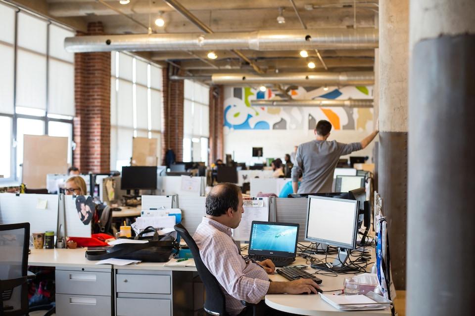 Employés travaillant dans des bureaux à aire ouverte