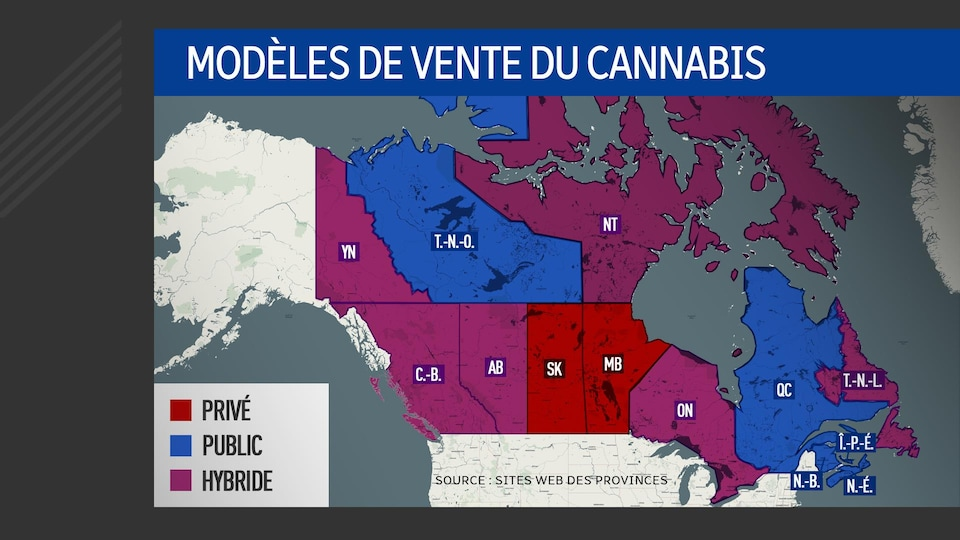 Une carte du Canada avec les provinces du pays en différentes couleurs selon leur modèle de vente