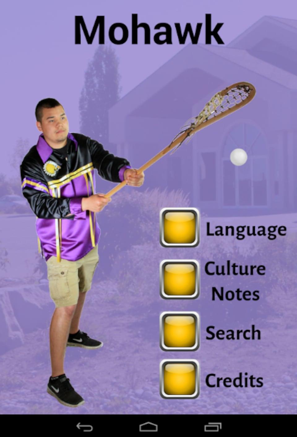Photo d'un jeune Autochtone qui joue à la crosse; des boutons jaunes de menu apparaissent à droite.