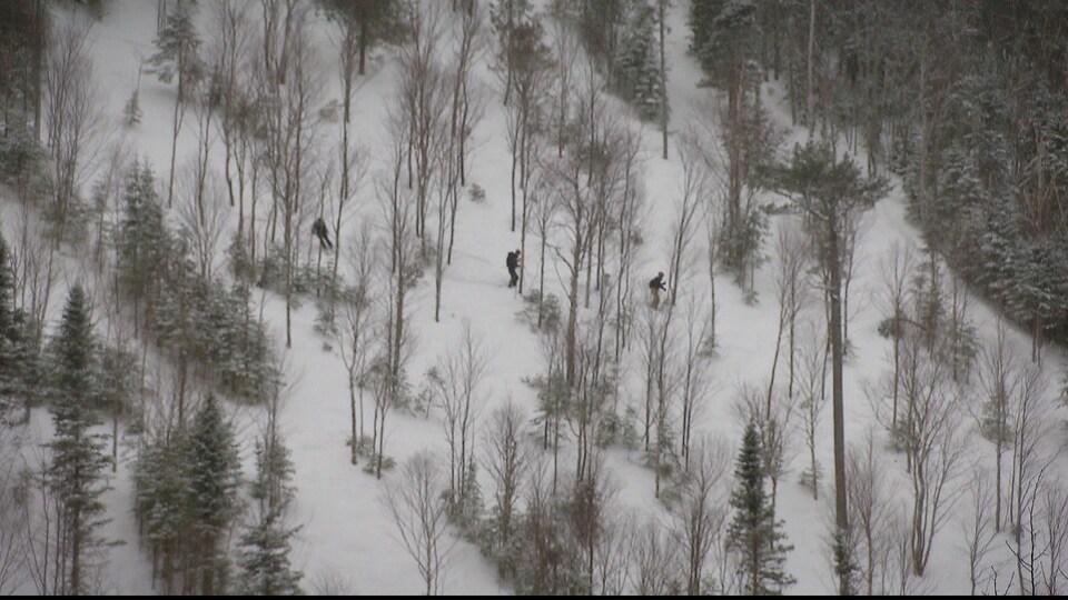 Skieurs au Mont Pésac, à Gaspé