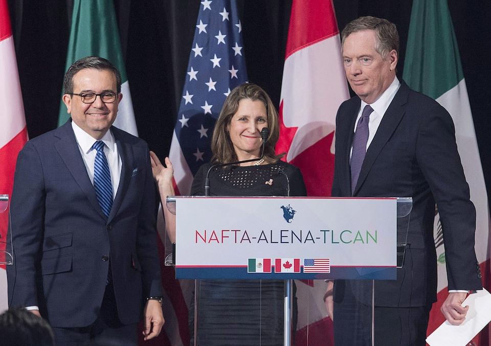 Ildefonso Guajardo, Chrystia Freeland et Robert Lighthizer derrière un lutrin sur lequel est écrit NAFTA-ALENA-TLCAN
