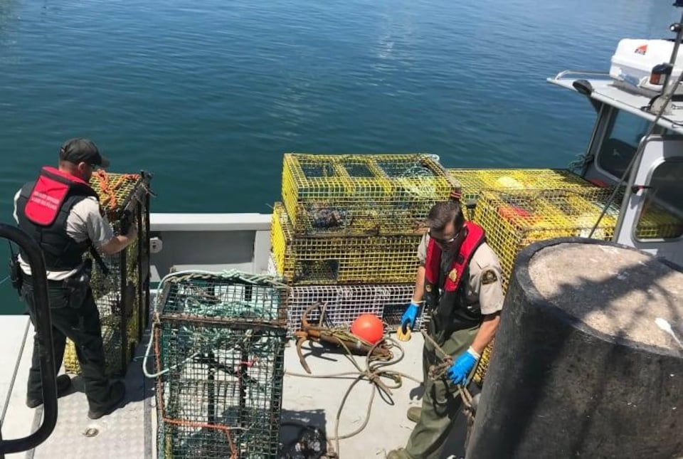 Agents du MPO sur un bateau de pêche au homard.