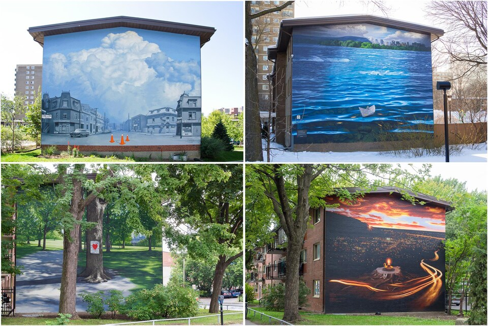 Quatre murs de quatre édifices sont peints de représentations des quatre éléments.