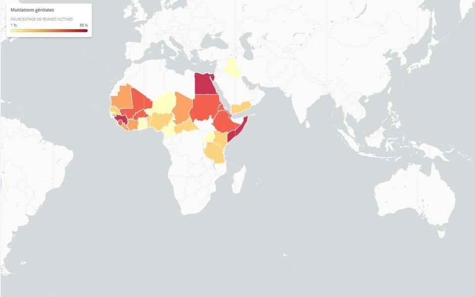 Carte montrant l'Afrique et la proportion de femmes qui sont victimes.
