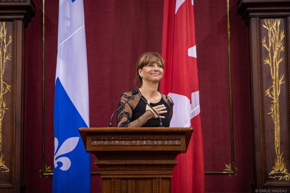 Photo de Nathalie Roy, lors de son assermentation de ministre le 18 octobre dernier.