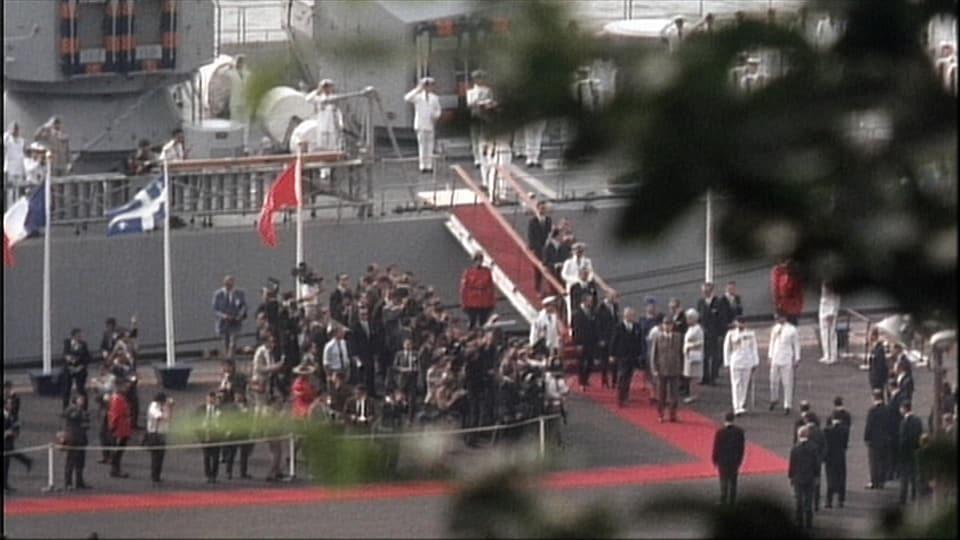 Charles de Gaulle arrive au Québec à bord du navire Colbert.