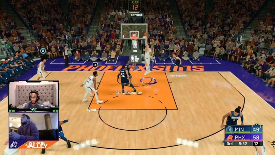 Capture d'écran du jeu NBA 2K20 lors d'une diffusion en direct sur Twitch.