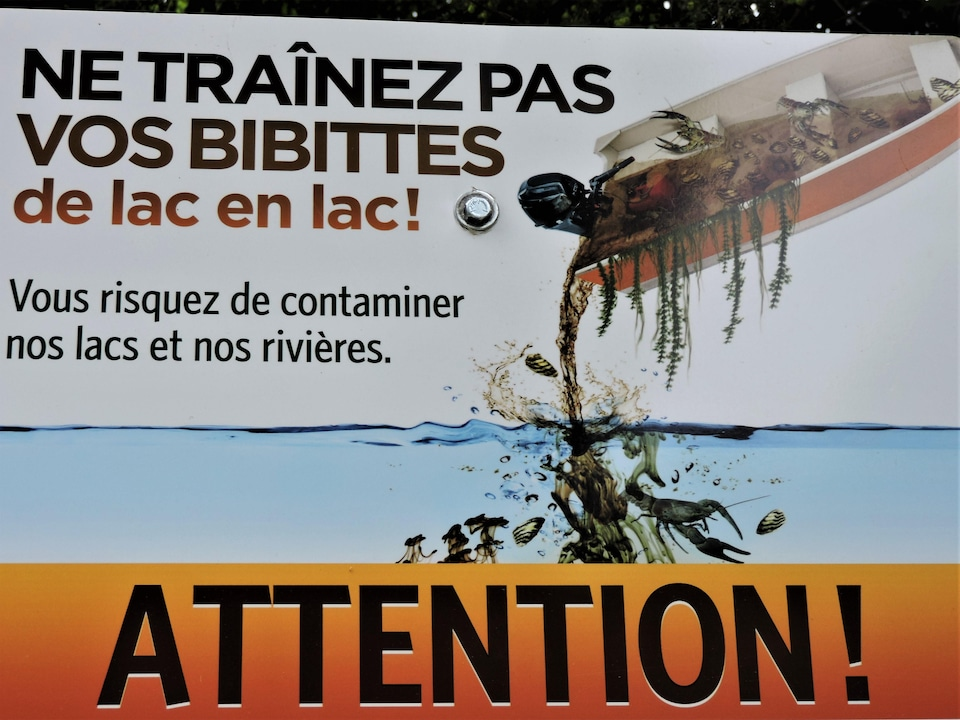 Pancarte illustrant une chaloupe contaminant un lac avec des fragments de myriophylle.