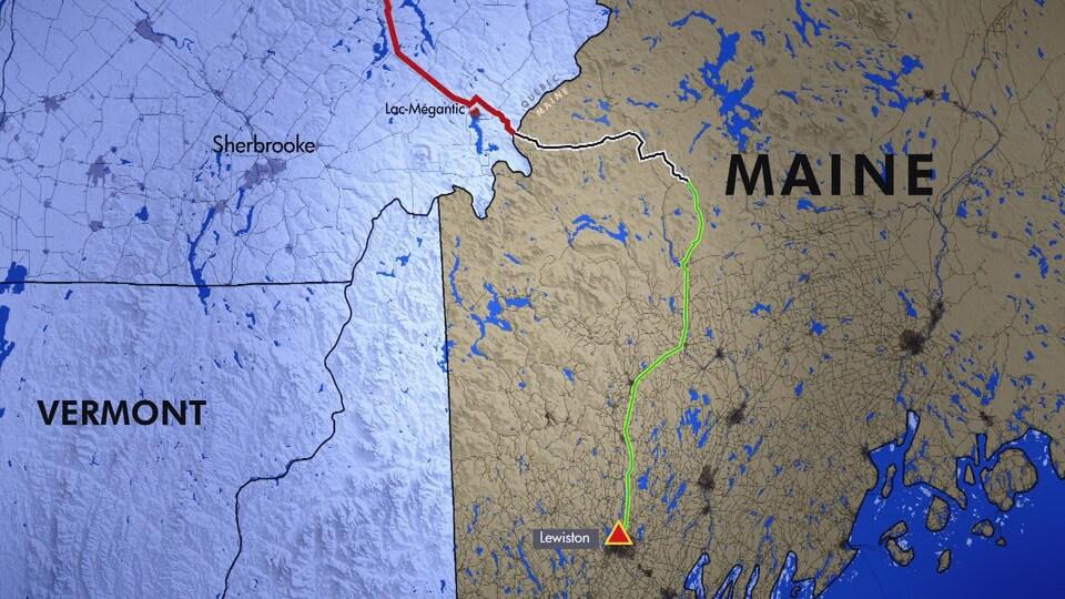 Infographie du tracé du projet New England Clean Energy Connect, jusqu'à Lewiston, dans le sud du Maine.