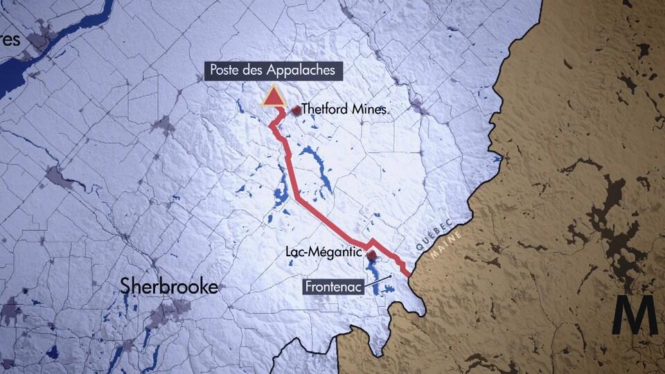 Infrographie du tracé de la portion québécoise du projet NECEC, du poste des Appalaches à la frontière du Maine.