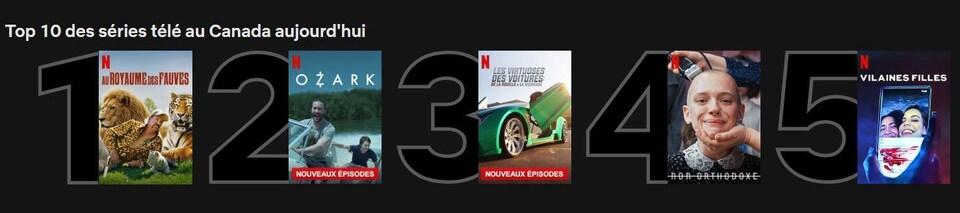 Une capture d'écran du site de Netflix montre la série documentaire en première position, suivie d'Ozark, des Virtuoses des voitures, de Non orthodoxe et des Vilaines filles.