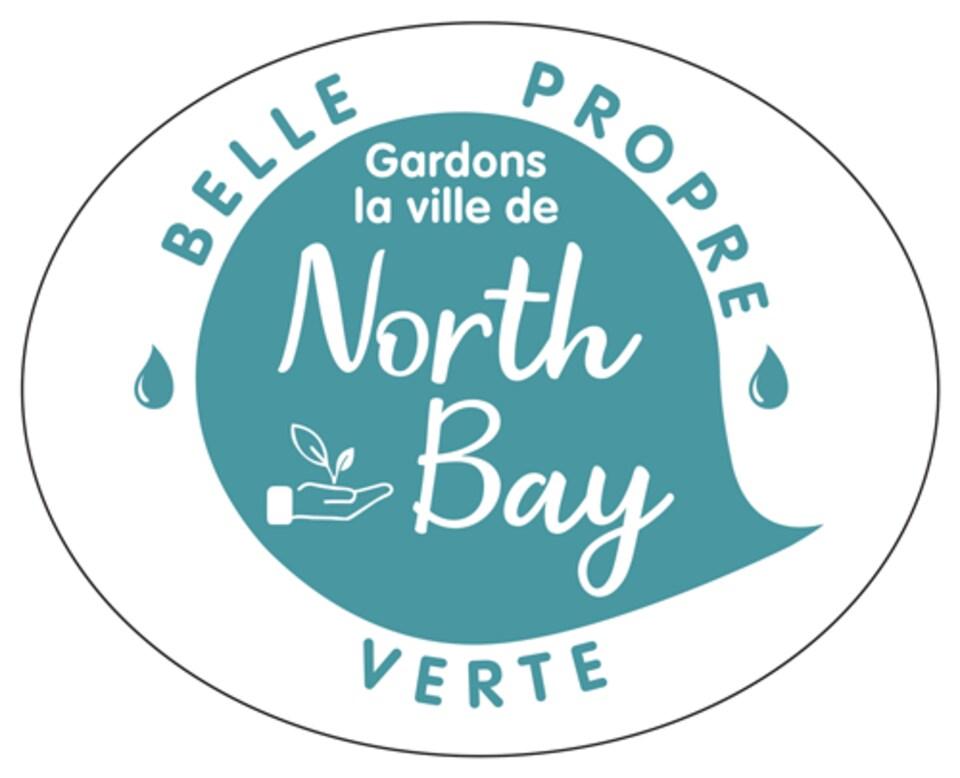 Un logo indiquant « Gardons la ville de North Bay belle, propre, verte ».