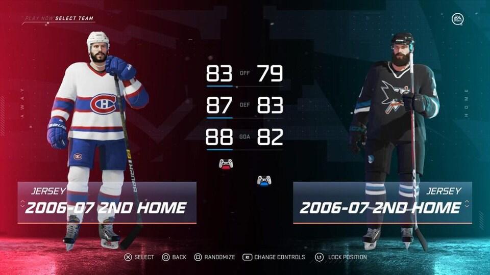 Écran de sélection d'équipes du jeu vidéo NHL 20. On prépare un match Canadiens de Montréal contre Sharks de San Jose.