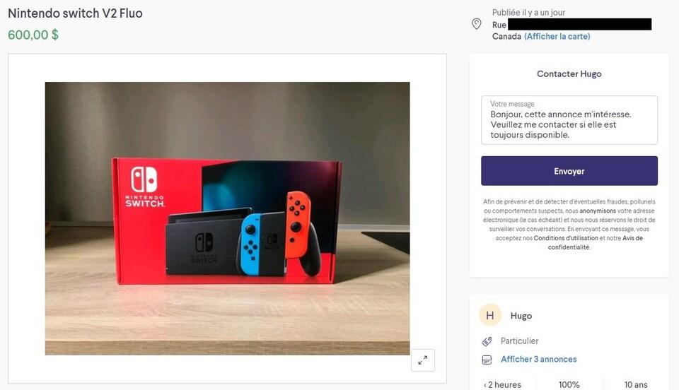Capture d'écran d'une annonce Kijiji pour une Nintendo Switch vendue à 600 $.